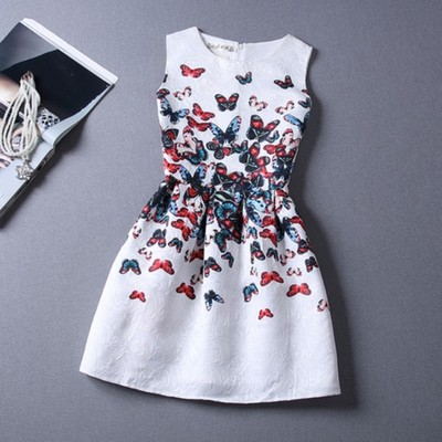 2015 Summer Style Vestidos Restoring Ancient Ways Girls Sleeveless Dresses Big Girls Princess A-line Party Dress Drop Shipping(China (Mainland))