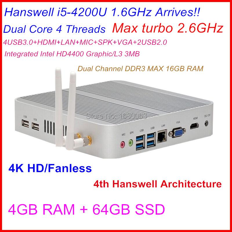 New High Grade Powerful Mini Itx PC Intel NUC Mini Computer Core i5 CPU 4G RAM 64G SSD Harddisk Built-in wifi 4K ultra HD(China (Mainland))