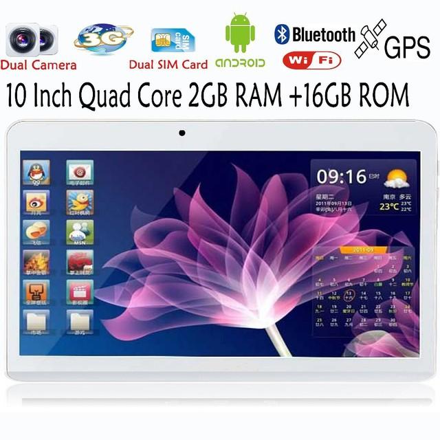 10 дюймов встроенный 3 г телефонный звонок андроид четырехъядерных процессоров планшет пк Android 4.4 2 ГБ оперативной памяти 16 ГБ ROM WiFi GPS fm-bluetooth 2 г + 16 г таблетки пк