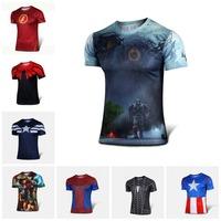 Nuovo 2015 batman spiderman ironman superman capitan america winter soldier marvel t shirt avengers costume comics superhero mens