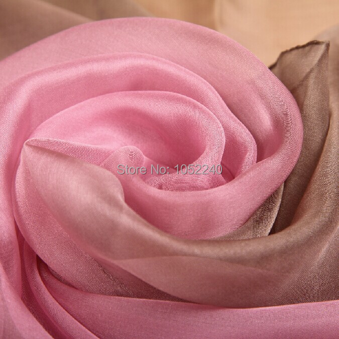 China Silk World ! 2014 new style gradient color real silk scarf women's longdesign mulberrysilk scarf(China (Mainland))
