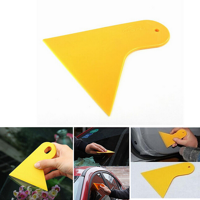 Car Stickers Scraper Plate Glass Yellow Plastic Film Tools