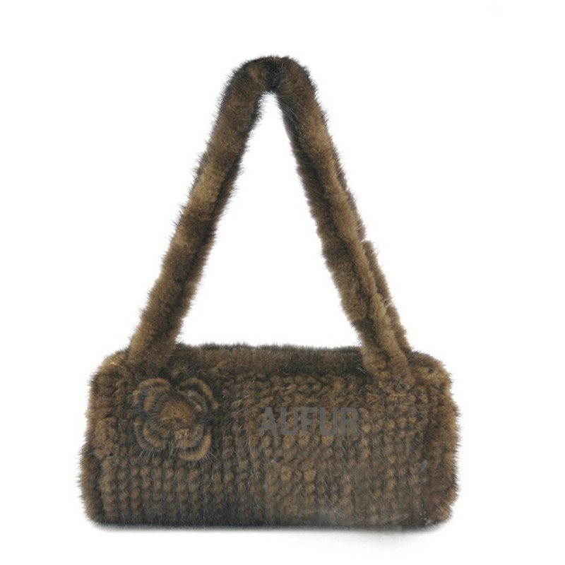 Women Real Mink Fur Handbag with Fur Flower Decorated Brown Natural Fur Shoulder Bags 2015 New Lady Tote AU00504(China (Mainland))