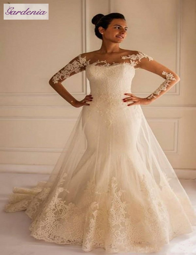 Wedding dress with lace sleeves and open back