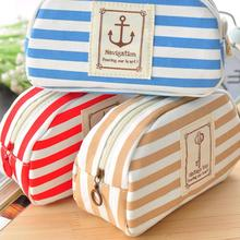 2016 New Multifunction Navy Style Travel Cosmetic Bag Makeup Case Pouch Toiletry Zipper Pen Case BU21