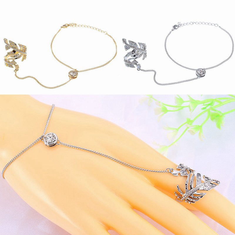 Fashion Top Of Finger Over The Midi Tip Finger Feather Gold / Silver plated Rings Link Chain Above The Knuckle Link Ring HR049(China (Mainland))