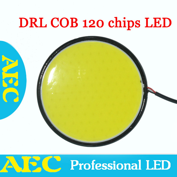 High power 1sets White CAR DRL COB Round 120 chips led round 120chips 30W diameter 82mm Car Auto Light Daytime Running 12V(China (Mainland))
