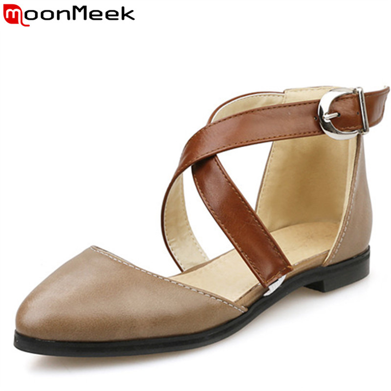 EUR size 34-48 new fashion soft leather women sandals black beige brown casual dress shoes woman flat summer - MoonMeek store