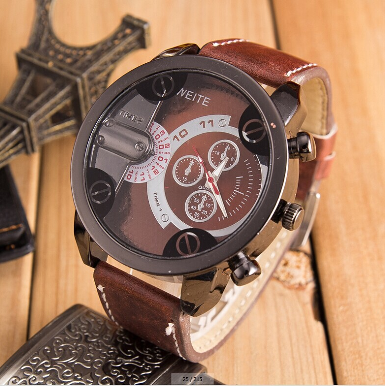 LZ Jewelry Hut 2014 New Fashion Design 4 Colors Leather Strap Men Top Brand Luxury Quartz