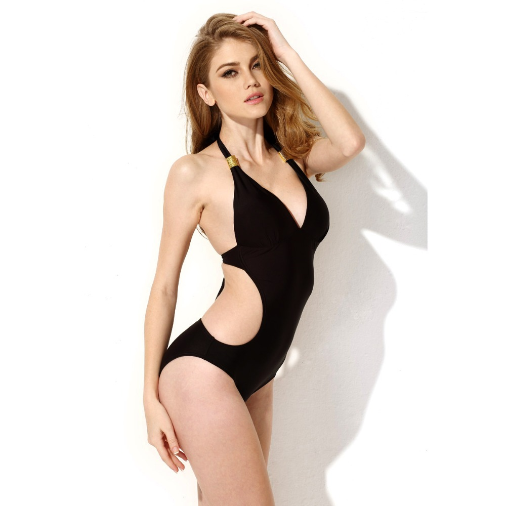 Solid Black Girls One Piece Swimsuits Brand One-piece Swimwear Summer Beach Bikini 2016 Sexy Halter Women Brazilian Bikinis Sets(China (Mainland))