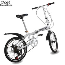 "High Quality Mountain bike 6 speed double disc brake folding bike 20 inch unisex Bicycle 20"" Silver fast shipping(China (Mainland))"