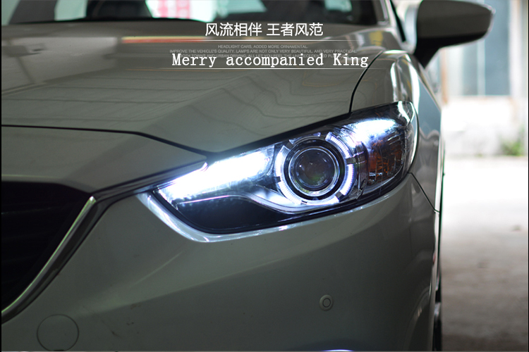 Car Styling New For Mazda 6 led headlights 2014-2015 Led Mazda6 head lamp Angel eye led drl H7 hid Bi-Xenon Lens low beam