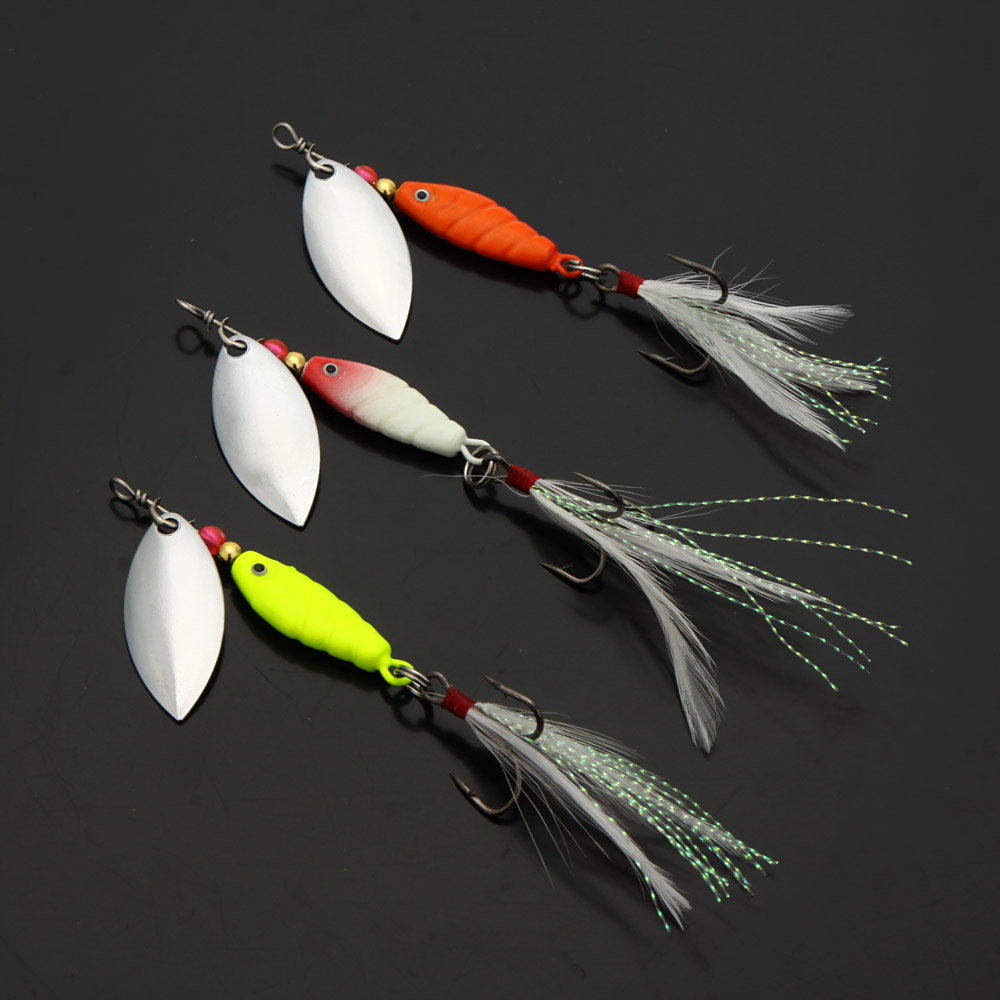 3Pcs/Set 10g / 9.5cm Spoon Lures Pesca Hard Fishing Lures Spinner Sequin Paillette Fishing Baits with Feather Hook Tackle(China (Mainland))