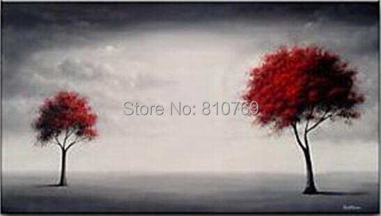Nova mão casa pintada de decoração de artistas famosos pintura a óleo de alta qualidade Modern pintura assistir a duas árvores DM20141227024(China (Mainland))