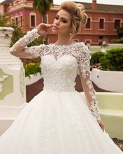 Buy Dreagel Gorgeous Appliques Robe De Mariage Ball Gown Princess Wedding Dress 2017 Elegant Long Sleeves Lace Vintage Bride Gown for $226.31 in AliExpress store