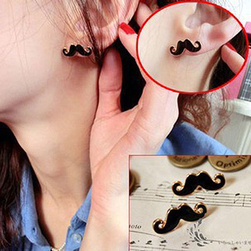 ES125 Special spike European and American Vintage Jewelry cute Stud earrings sexy mustache Accessories<br><br>Aliexpress
