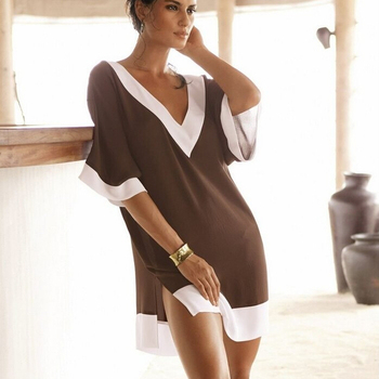 Vestido Verao 2015 свободного покроя v-образным вырезом шифон женские летние платья пляж, сексуальное бикини прикрыть, мода сарафан для женщин