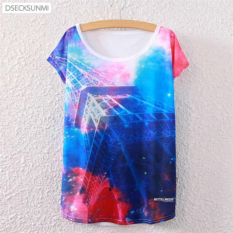 2016 Brand New Polyester T-Shirt Women Short Sleeve t-shirt o-neck Causal loose print Eiffel Tower t shirt Summer tops for women(China (Mainland))