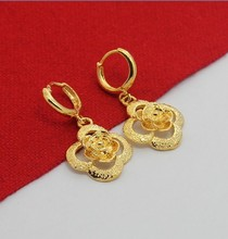 KE73    18K gold plated  earrings, Free shipping, Fashion jewelry,  Flower Earrings, Wholesale price, promotion items(China (Mainland))