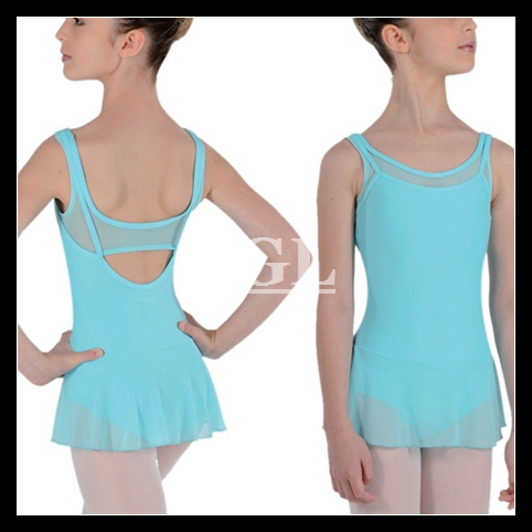 (5 pieces/lot) Cotton Lycra Fabric Ballet Leotards Dance Costumes For Girls Camisole Mesh Leotards With Chiffon Skirts CS0027(China (Mainland))