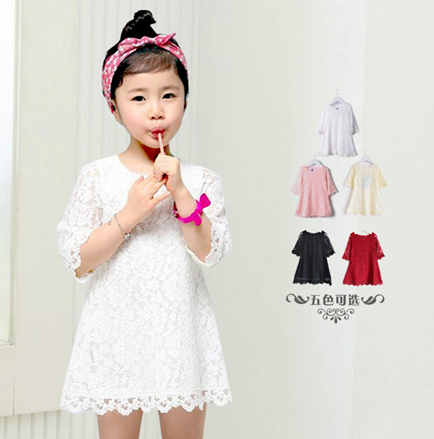 Hot sale!Fashion Korean Girls Lace Dress Children Clothing Beautiful White Princess Mini Dresses Kid Baby Clothes free shipping(China (Mainland))