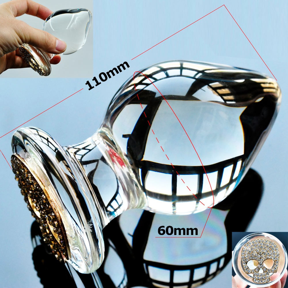 Large big Glass Anal butt plug with skull Ornament Sex toys for women men gay couples Adult products masturbation Christmas gift