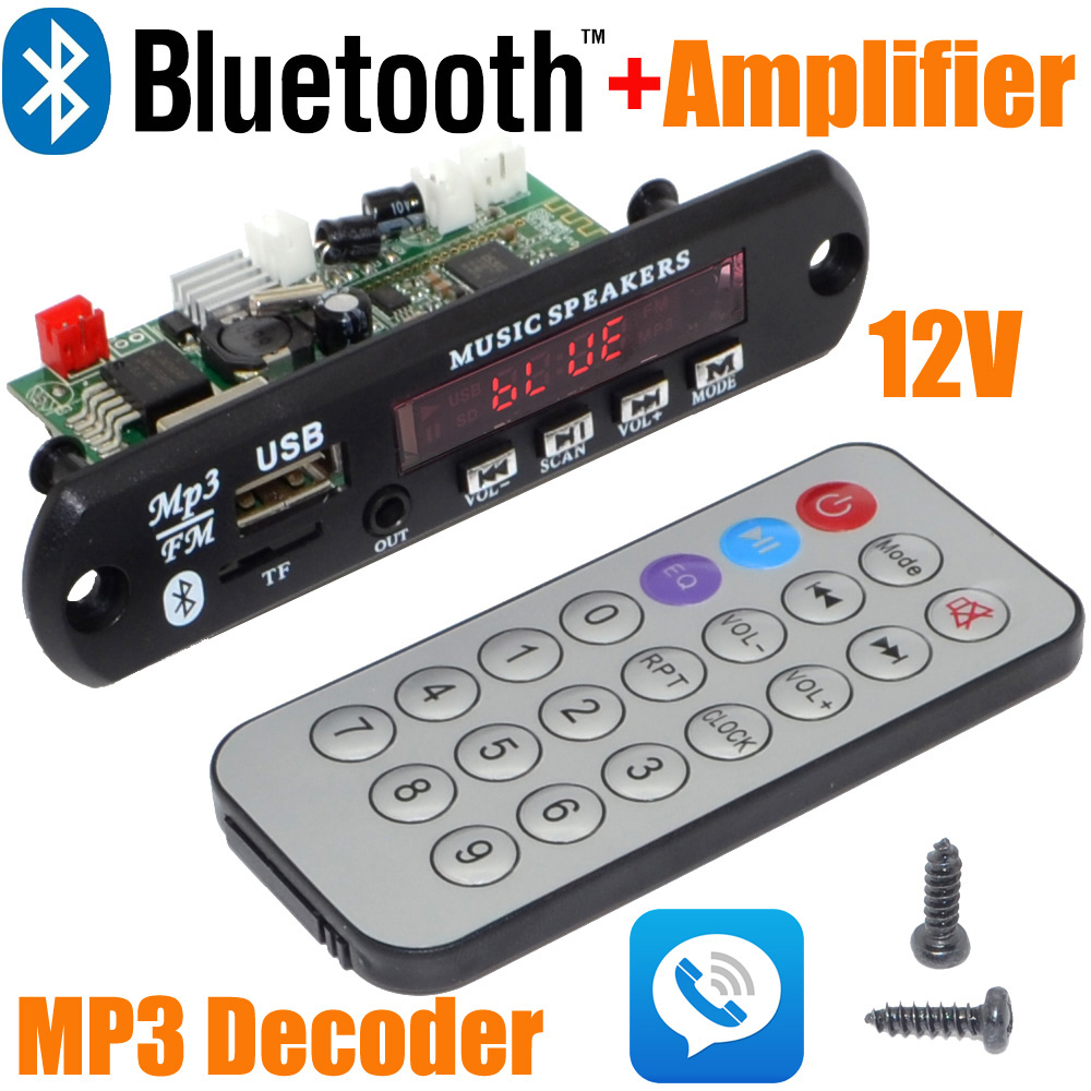 Wholesale Brand New 12V Car Handsfree Bluetooth MP3 decode board with Bluetooth module and build in 2*3 amplifier board-10000657(China (Mainland))