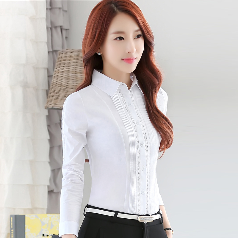New Women Casual Autumn Winter 2017 Lace Chiffon Blouse business Full sleeves OL Patchwork Top Shirt blusas Work Wear Plus Size