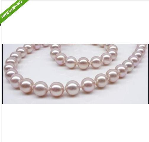 """18""""10-11mm Natural AAA south sea PINK PURPLE pearl necklace 14K"""