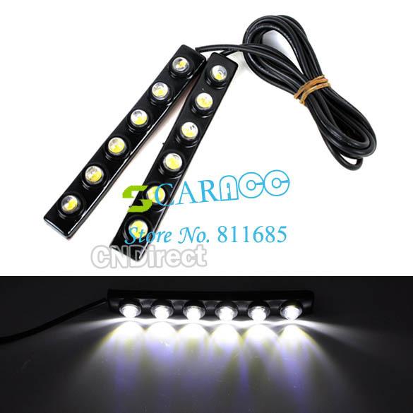 New 2X Car DIY 6 LED DRL Daytime Running Light Lamp Bar Soft Head Car Light Super White TK0001