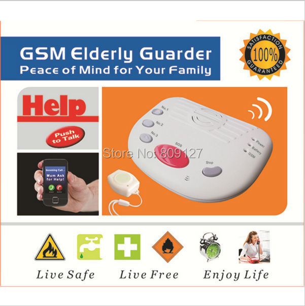 Free Shipping Wireless Wired Defense Zone GSM elder alarm Home Security Alarm System emergency call button for elderly (A10)(China (Mainland))