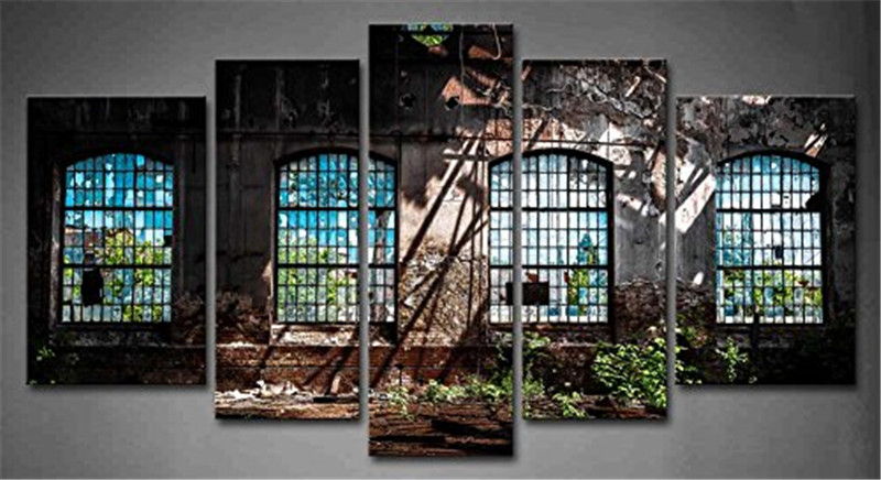Abandoned Industrial Interior with Bright Light Ruin Window Plant Painting 5 Panels Wall Art Canvas Paintings Wall Home Decor(China (Mainland))