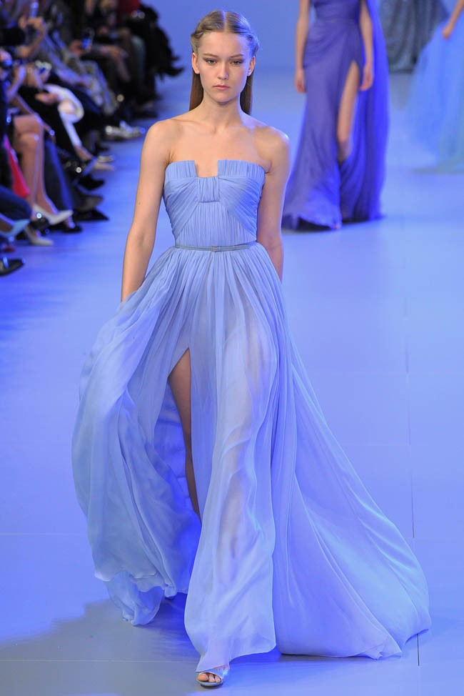 High Front Slit Light Blue Chiffon Elie Saab Evening Dress Abendkleider 2016 Pleat Belt Party Prom Dresses Vestidos De Festa(China (Mainland))