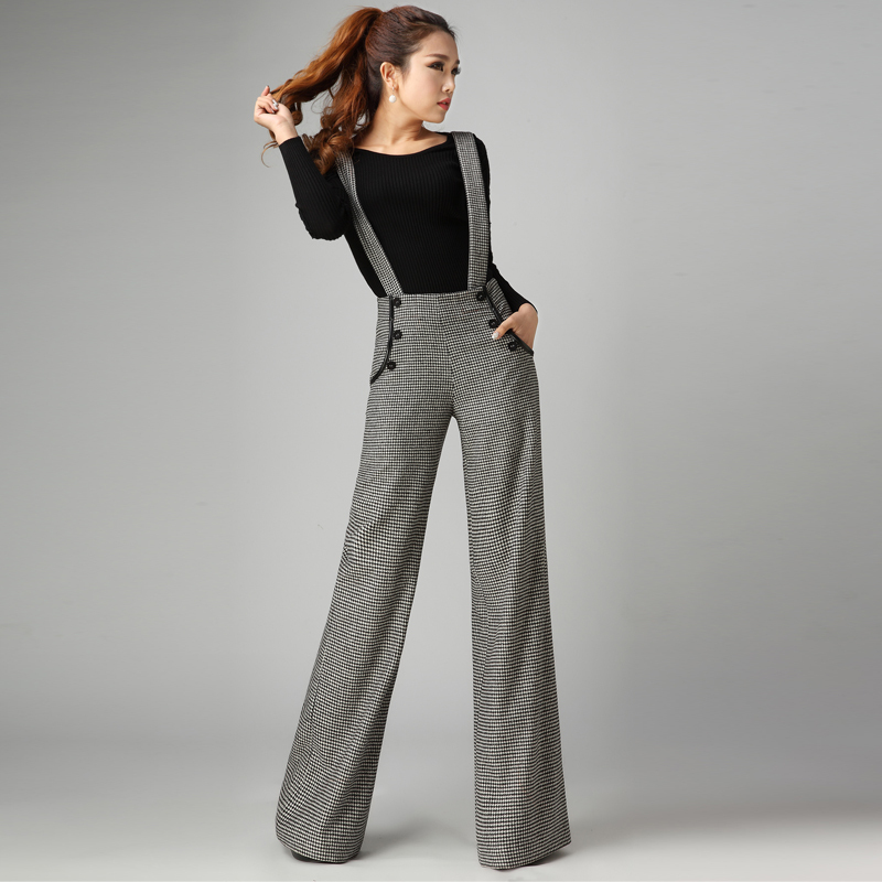 Fashion winter wool pants womens plaid wide leg pants Fashion style girl hiver 2015