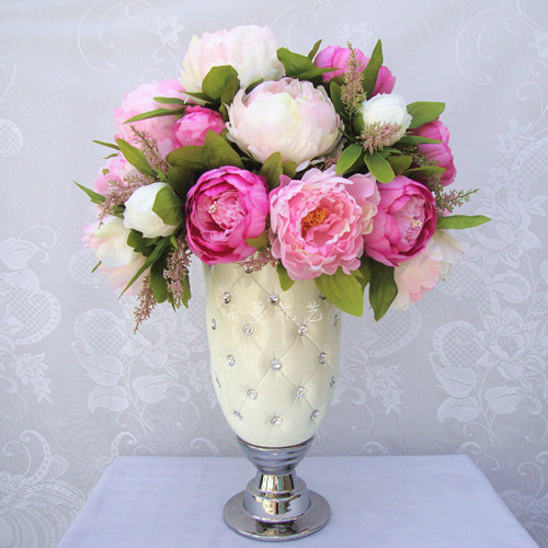 Wedding Decoration Artificial Flowers 7 peony flower heads new 1 Bouquet Artificial Peony Silk Flowers with high quality(China (Mainland))