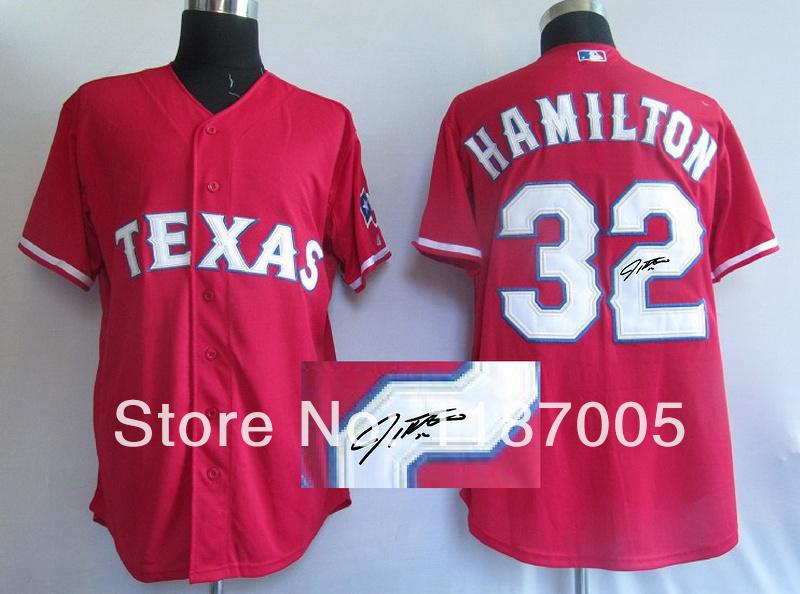 Cheap Signed MLB Texans Rangers #32 Hamilton red 100% Stitched Baseball Jerseys(China (Mainland))