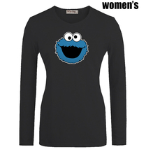 Funny Blue Cookie Monster Monsta Printed T-Shirt Newest Casual Long Sleeve High-quality Women's Girl's Graphic Tee Tops