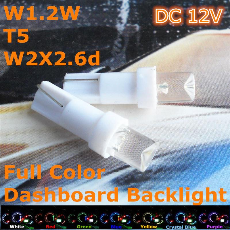 Free Shipping New 12V CE LED Car Bulb T5(5mm Flood Lamp) W1.2W W2.3W W2X2.6d For Dashboard Signal Ashtray Light(China (Mainland))