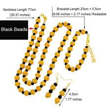 Anniyo 77cm חרוזים שרשרת 23cm כדור צמידי עגילים לנשים אפריקאי זהב צבע מחרוזת חרוזים תכשיטי המפלגה סטים #124806(China)