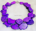 Wedding Handmade Elegant Purple Turquoise Necklace Woman Gift Exaggerated Jewelry Slice Turquoise Stone 2 Layer Necklace