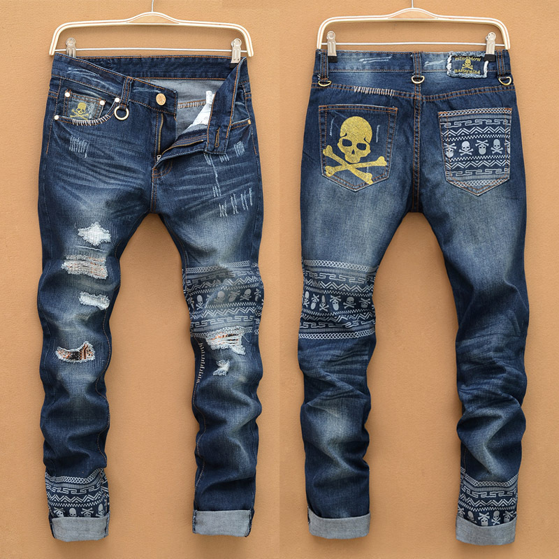 2016 mens baggy jeans destroyed jean ripped jeans male men moto biker designer printed paint jeans high quality  trousersD518 от Aliexpress INT