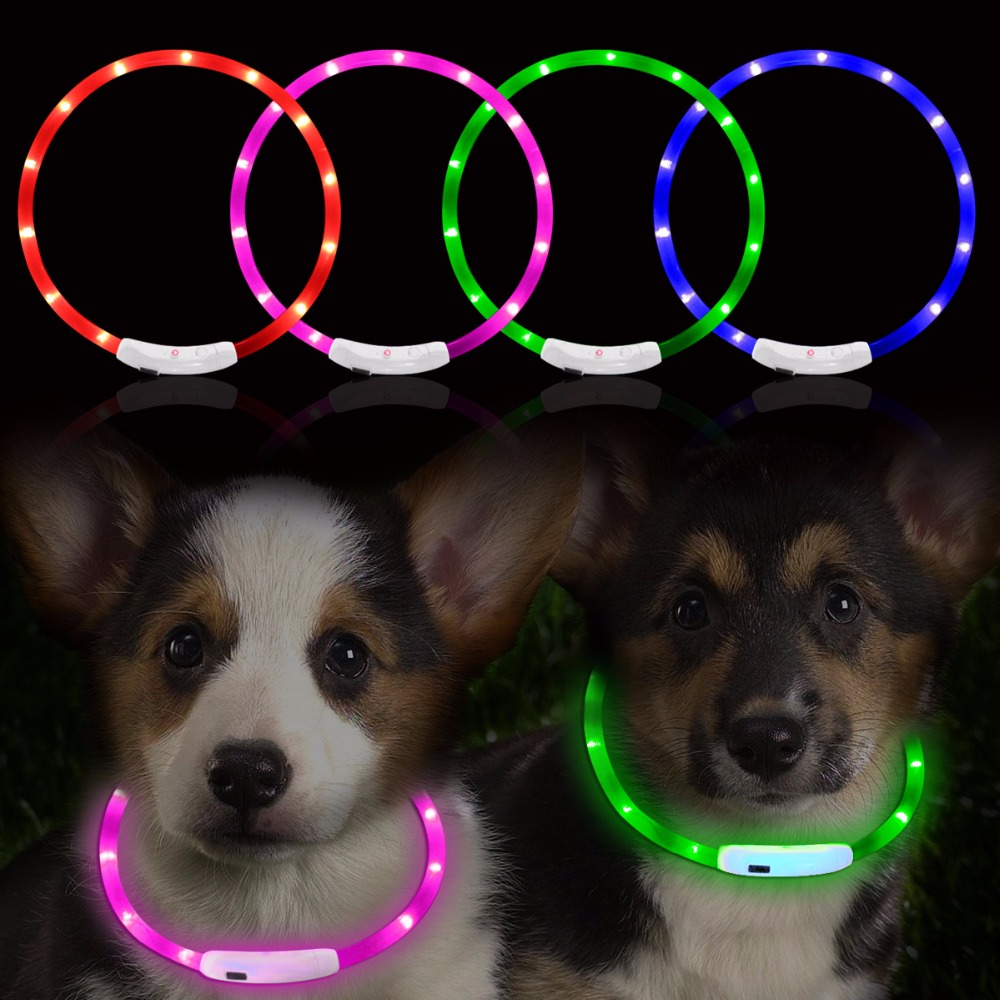 1Pcs Dog Cat Collar 70CM Adjustable USB Luminous LED Pet Collars With 3 Glowing Model USB Charging Flash Safety Equipment(China (Mainland))