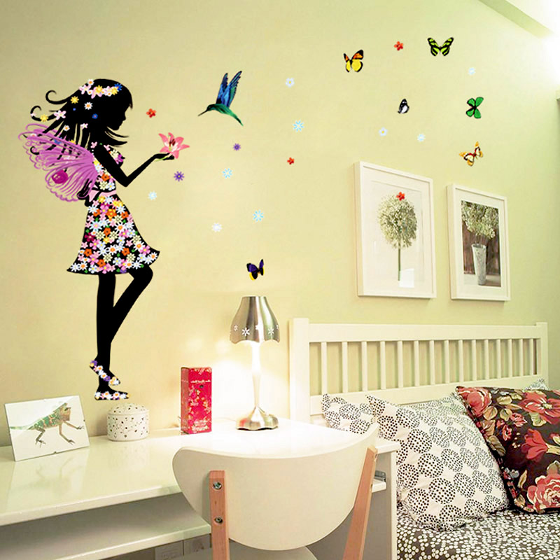 beautiful butterfly elf arts wall sticker for kids rooms personalized name butterfly wall stickers for kids