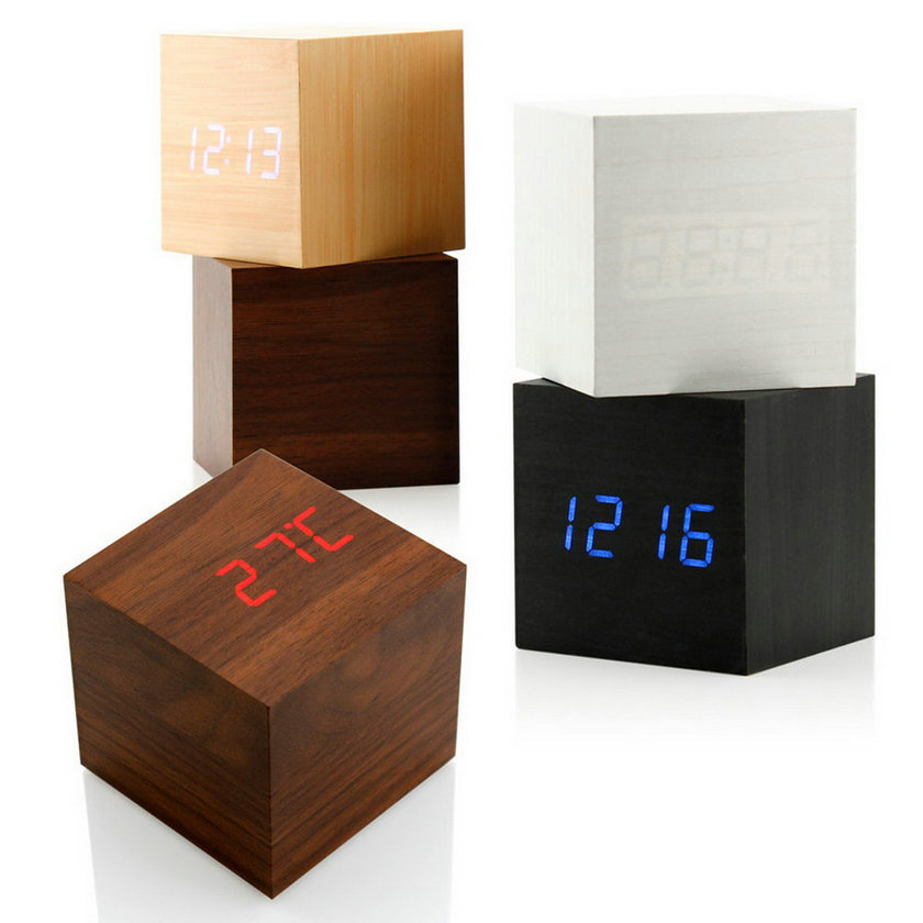 Wood Square Blue LED Alarm Digital White Desk Clock Wooden Thermometer USB/AAA Thermometer Date Display Vioce Touch Activated(China (Mainland))