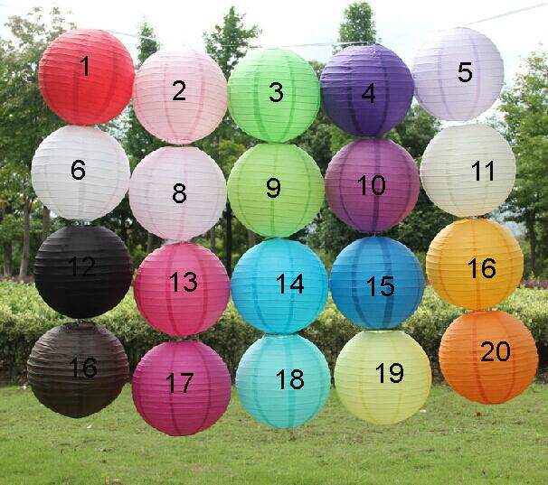 "Free shipping 10pcs 30cm(12"") Chinese round paper lantern wedding lantern festival decoration mix color(China (Mainland))"