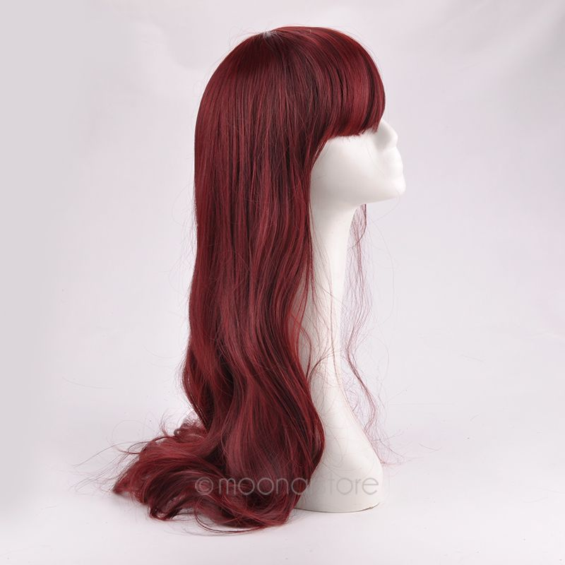 New Female Long Curly Synthetic Wig Womens' Neat Bang Hair High Quality synthetic lace front wig FYMJF0016(China (Mainland))