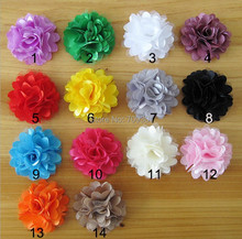 "2"" Flowers Mini Satin Mesh Rose Flowers Without HairClips Charlotte Tulle Puff Flower Head hydrangea 200pcs Free Shipping(China (Mainland))"
