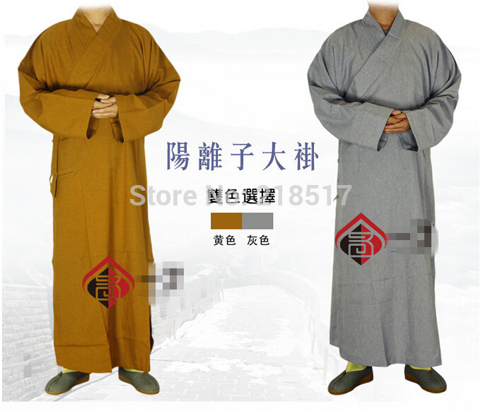2 colors Shaolin Temple costume Zen Buddhist Robe Lay Monk Meditation Gown Buddhism Monk clothes set Training Uniform Suit(China (Mainland))
