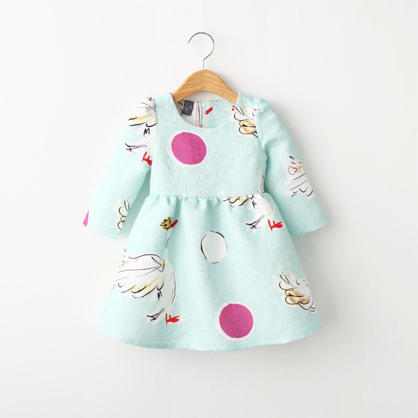 Children girls A-line dress,dot cartoon long sleeve dress,cotton baby girls autumn clothes,3-8 years(China (Mainland))