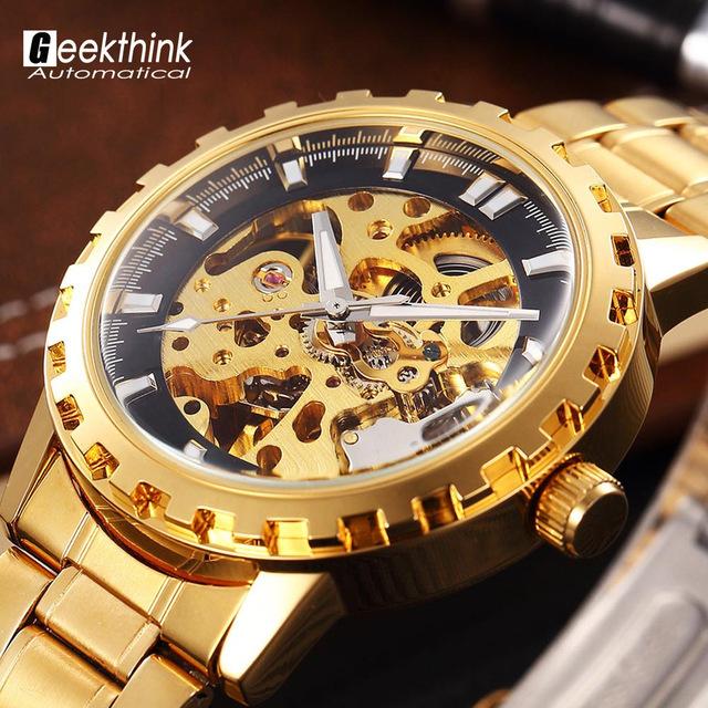 Люксовый бренд стали мужчины мужской военная часы автоматическая скелет механические часы self-ветер мода роскошные качество подарок стимпанк